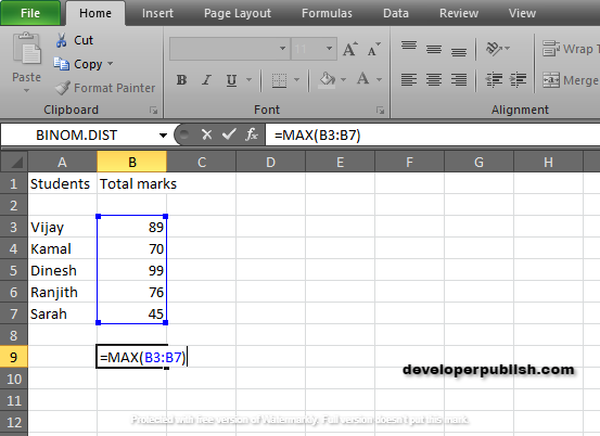 How to use MAX Function in Excel ?