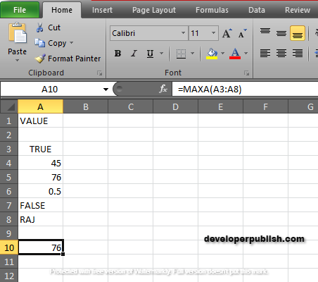 How to use MAXA Function in Excel ?