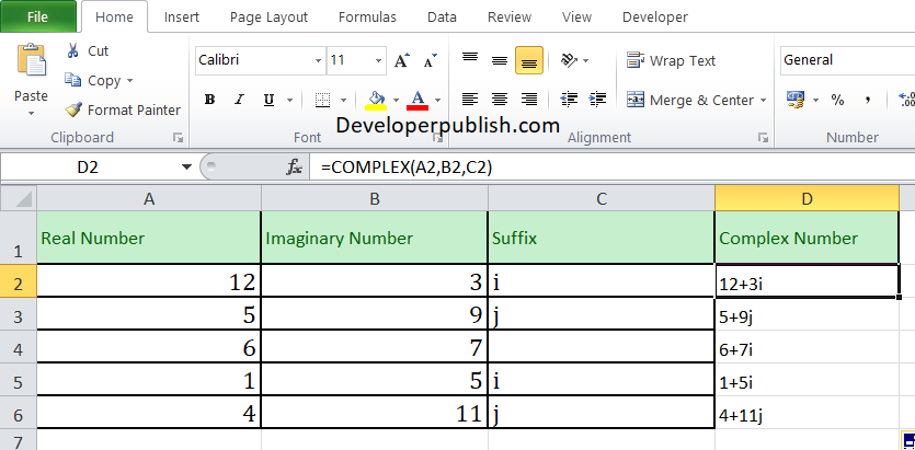 How to use COMPLEX function in Excel ?