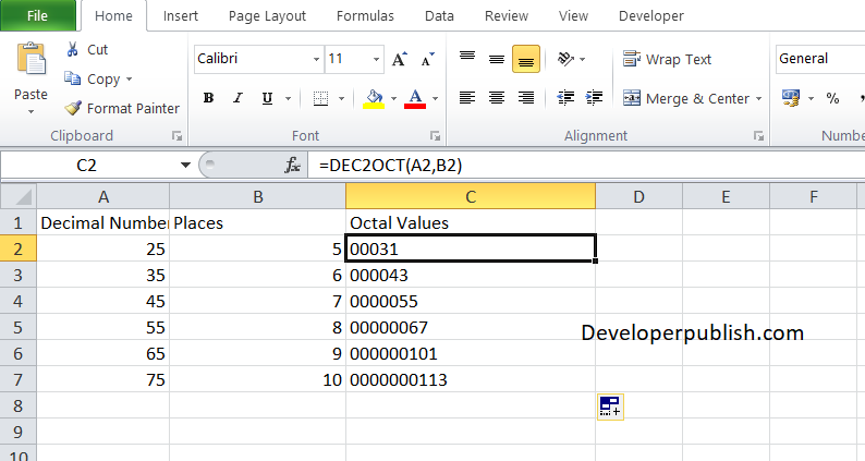 How to use the DEC2OCT in Excel?