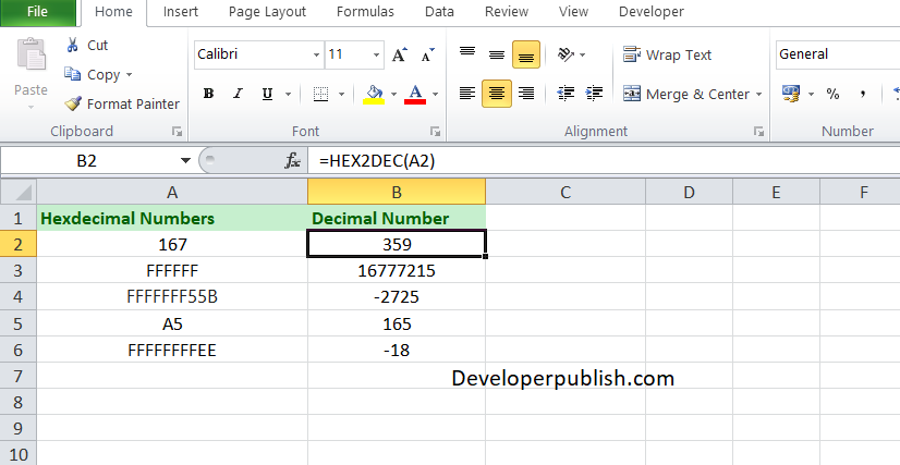 How to use HEX2DEC in Excel Worksheet?