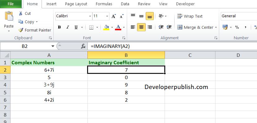 How to use IMAGINARY function in Microsoft Excel?