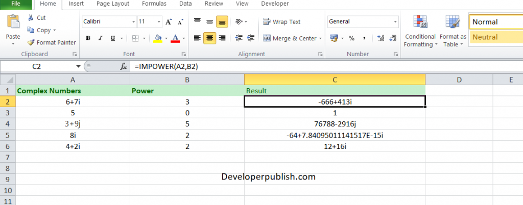 How to use the IMPOWER function in Excel?