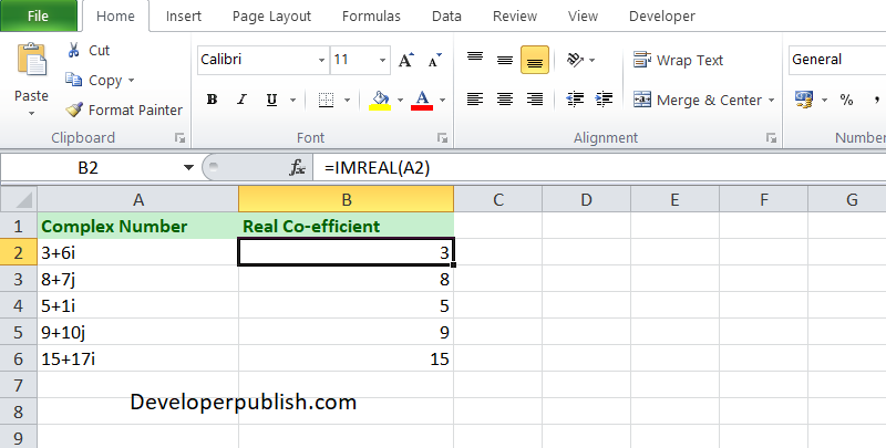 How to use the IMREAL function in Excel?