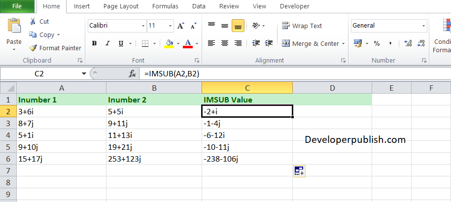 SUB function in Excel?