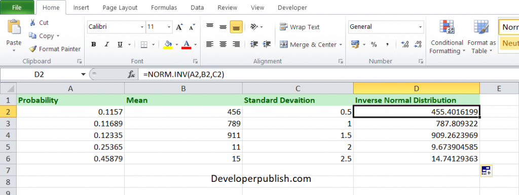 ow to use the NORM.INV function in Excel?
