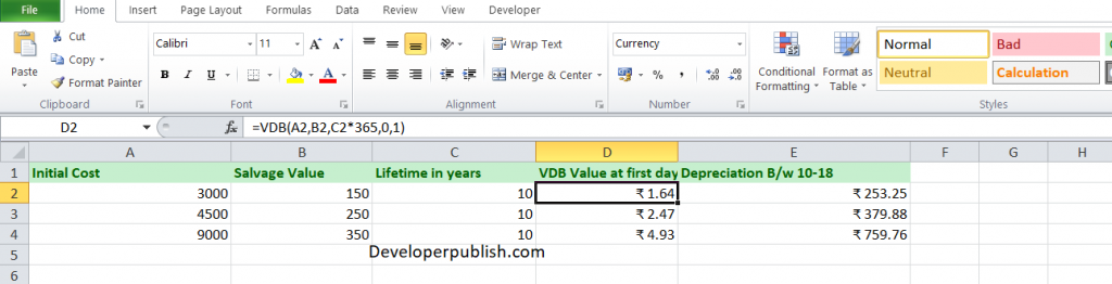 How to use the VDB function in Excel?