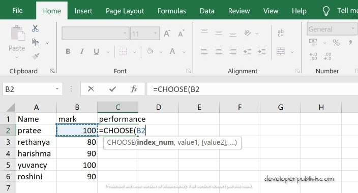 How to use CHOOSE function in Excel ?