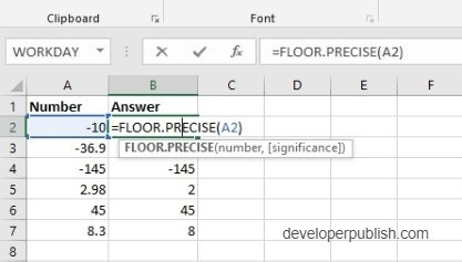 How to use FLOOR.PRECISE Function in Excel?