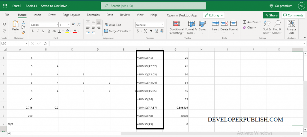How to use SUMSQ Function in Excel?