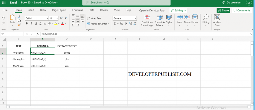 How to use RIGHT Function in Excel?