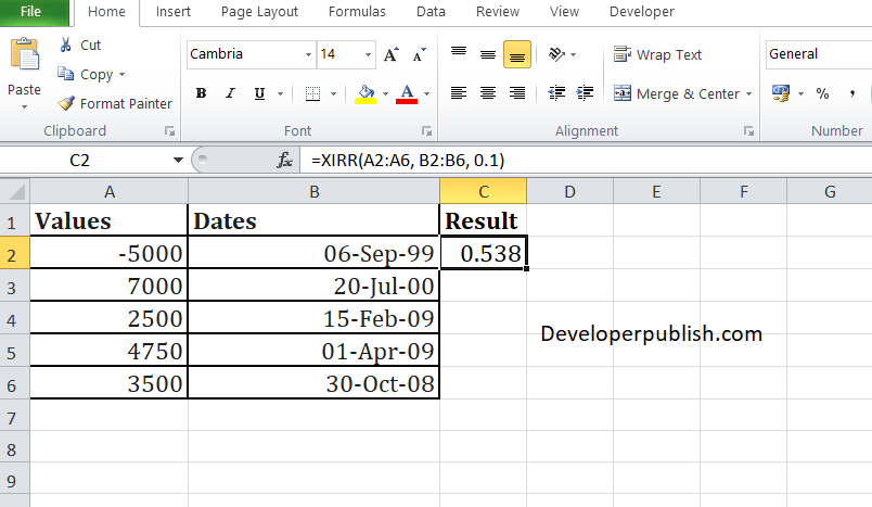 How to use XIRR Function in Excel? - Developer Publish