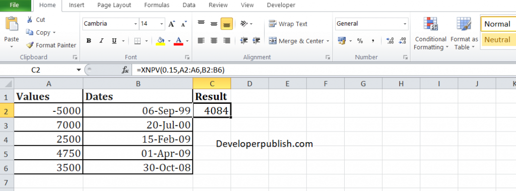How to use the XNPV function in Excel?