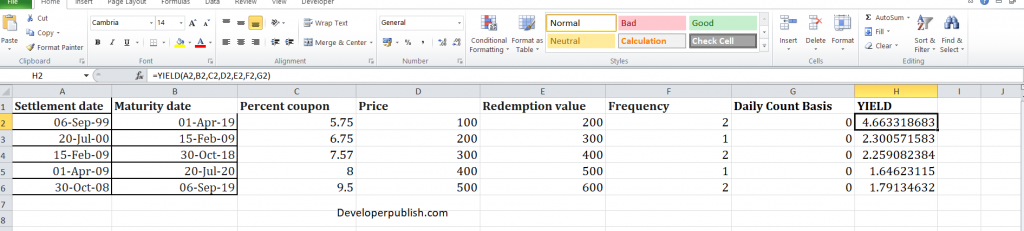 How to use the yield function in Excel?