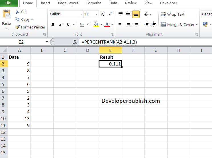 How to use the PERCENTRANK function in Excel?
