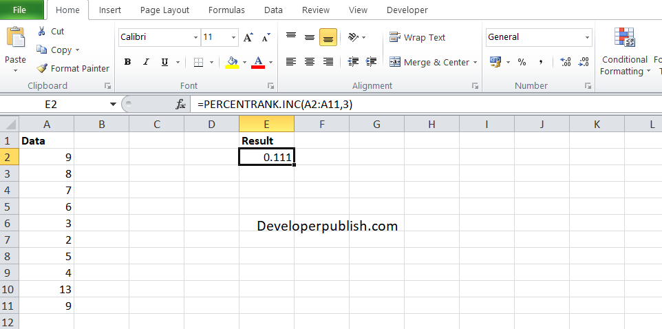 How to use the PERCENTRANK.INC function in Excel?