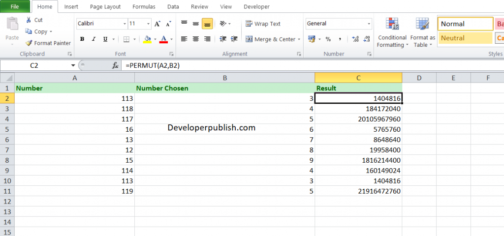 How to use the PERMUT function in Excel?