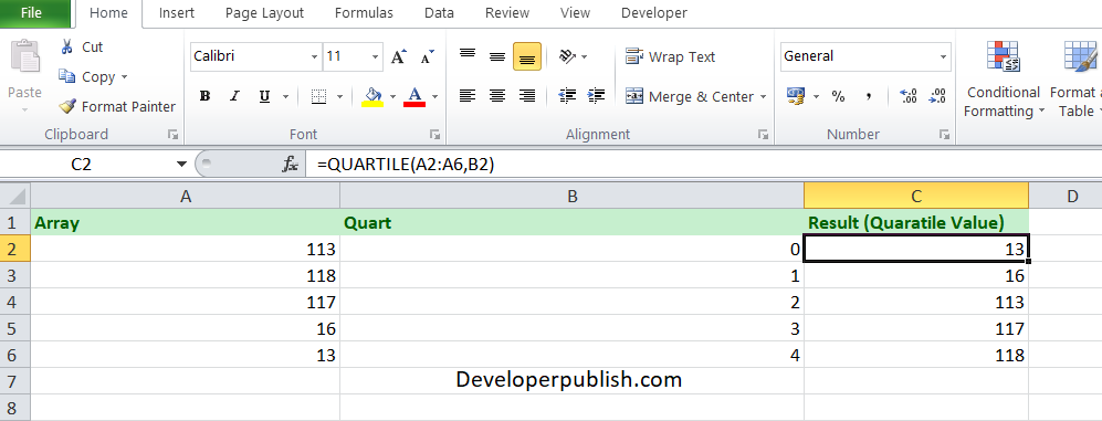 How to use the QUARTILE function in Excel?