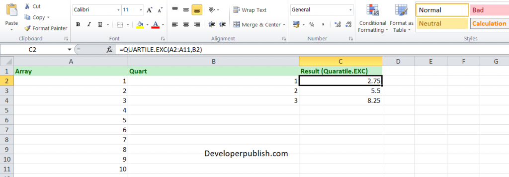 How to use the QUARTILE.EXC function in Excel?