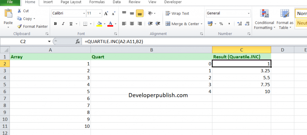 How to use the QUARTILE.INC Function in Excel?