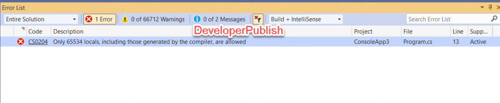 C# Error CS0204 - Only 65534 locals, including those generated by the compiler, are allowed