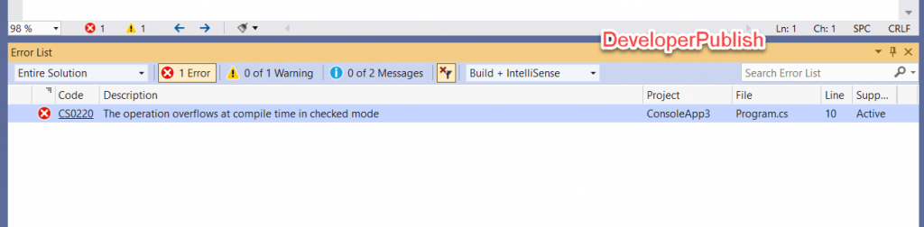 C# Error CS0220 – The operation overflows at compile time in checked mode