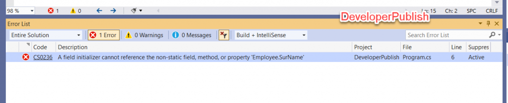 C# Error CS0236 – A field initializer cannot reference the non-static field, method, or property 'name'