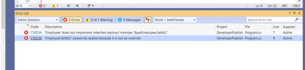 C# Error CS0238 – 'member' cannot be sealed because it is not an override