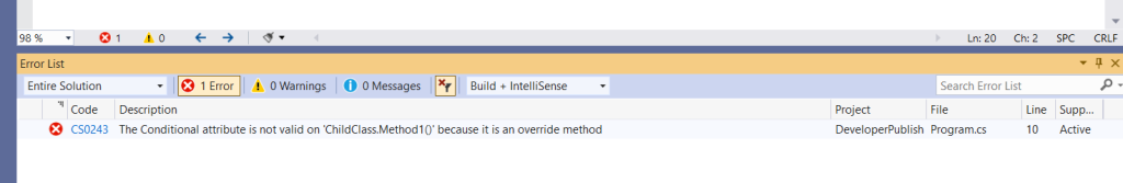 C# Error CS0243 – The Conditional attribute is not valid on 'method' because it is an override method