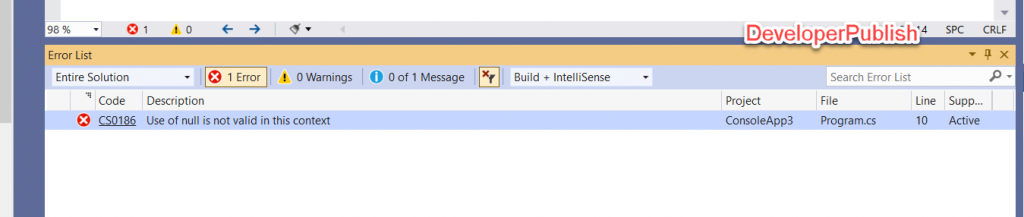 C# Error CS0186 - Use of null is not valid in this context