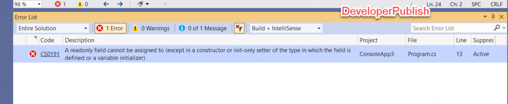 C# Error CS0191 - Property or indexer 'name' cannot be assigned to – it is read only