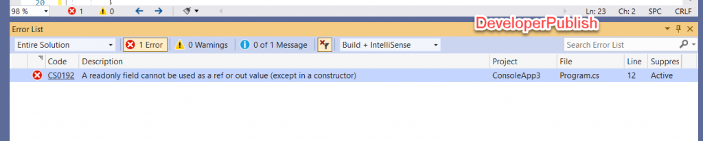 C# Error CS0192 - Fields of static readonly field 'name' cannot be passed ref or out (except in a static constructor)