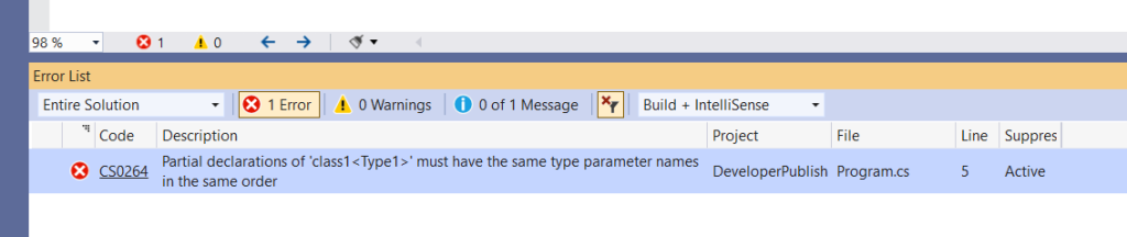 C# Error CS0264 – Partial declarations of 'type' must have the same type parameter names in the same order