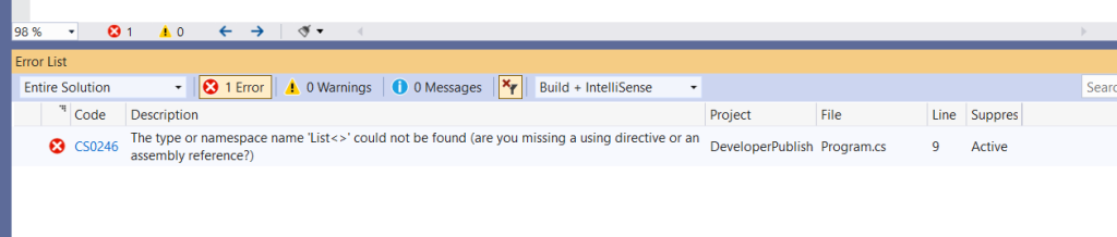 C# Error CS0246 – The type or namespace name 'type/namespace' could not be found