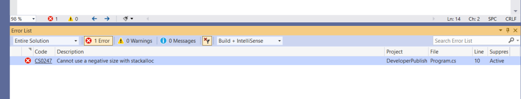 C# Error CS0247 – Cannot use a negative size with stackalloc