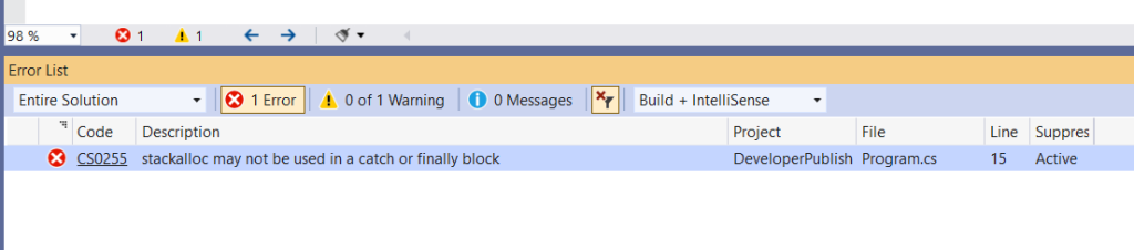 C# Error CS0255 – stackalloc may not be used in a catch or finally block