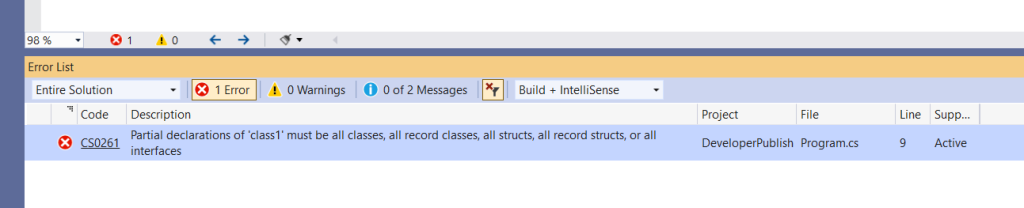 C# Error CS0261 – Partial declarations of 'type' must be all classes, all structs, or all interfaces